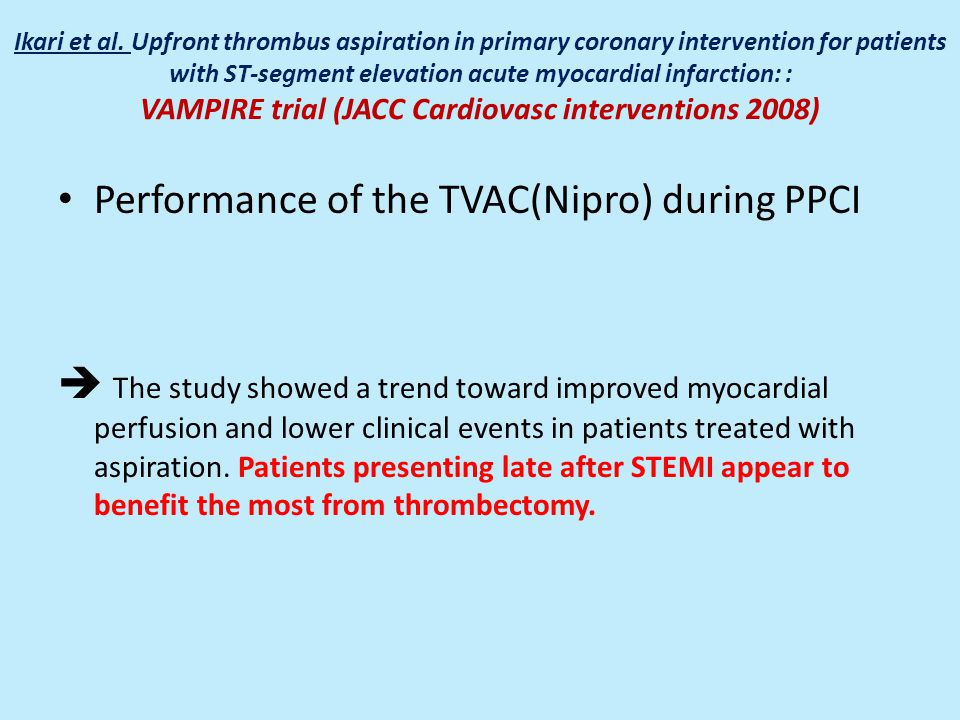 Performance of the TVAC(Nipro) during PPCI