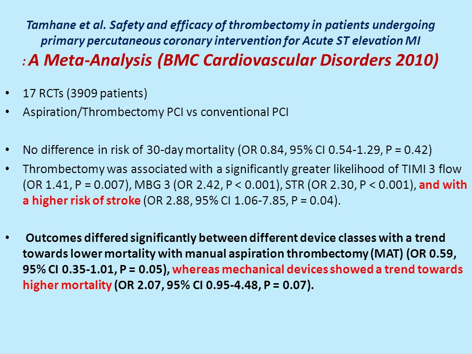 Tamhane et al. Safety and efficacy of thrombectomy in patients undergoing primary percutaneous coronary intervention for Acute ST elevation MI : A Meta-Analysis (BMC Cardiovascular Disorders 2010)