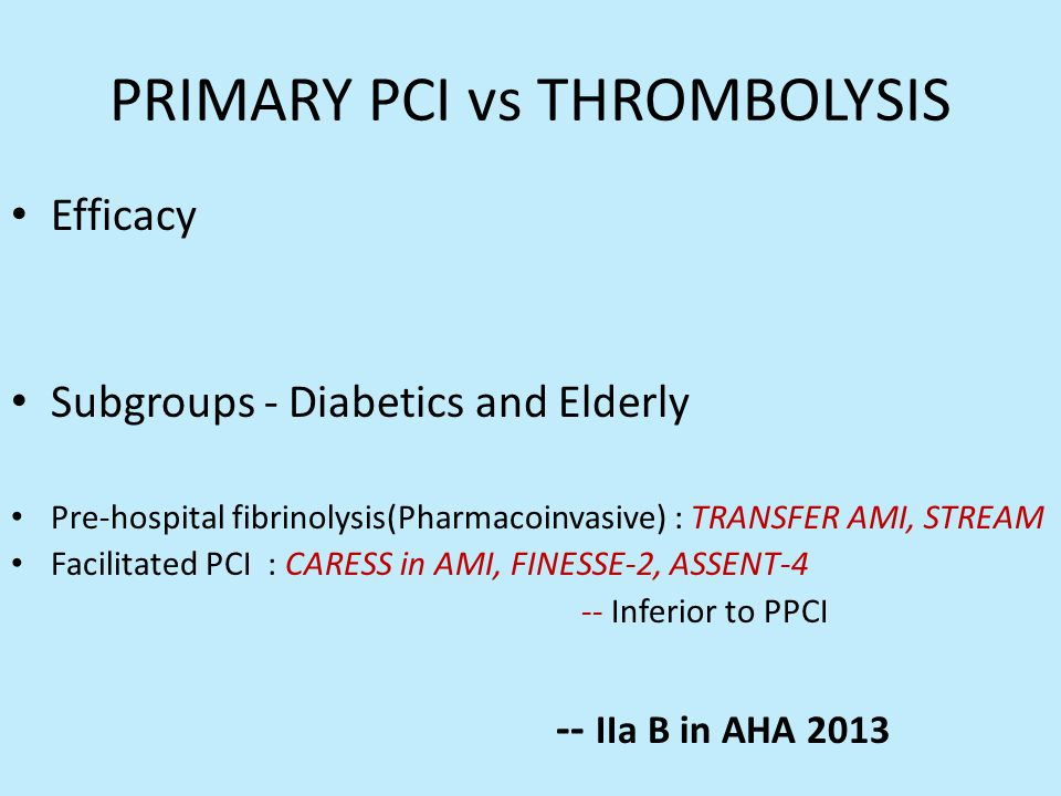 PRIMARY PCI vs THROMBOLYSIS