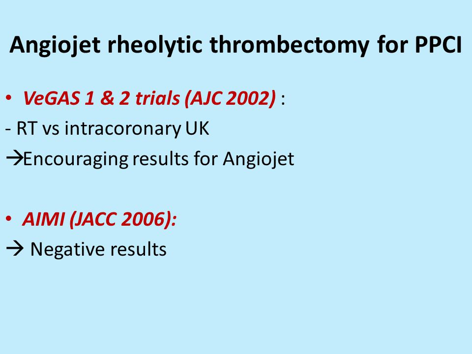 Angiojet rheolytic thrombectomy for PPCI