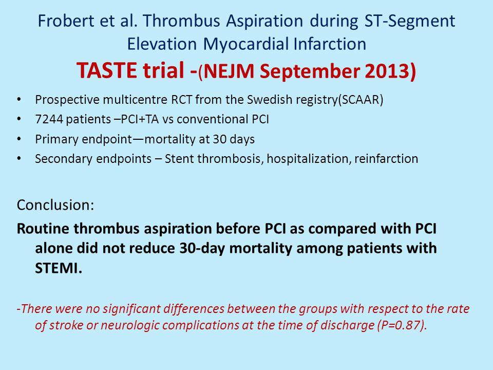 Frobert et al. Thrombus Aspiration during ST-Segment Elevation Myocardial Infarction TASTE trial -(NEJM September 2013)