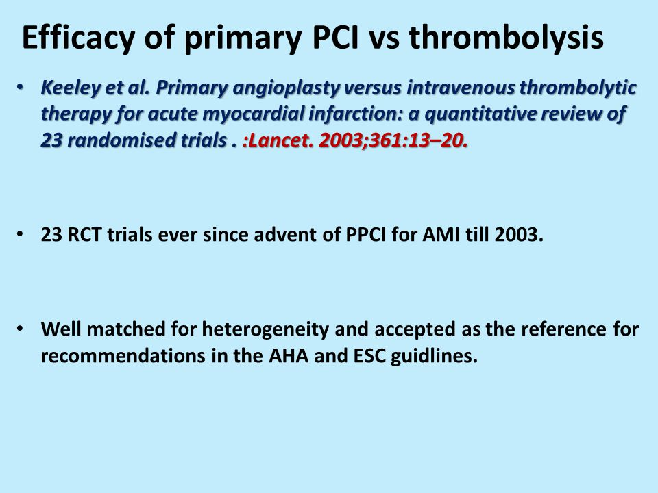 Efficacy of primary PCI vs thrombolysis