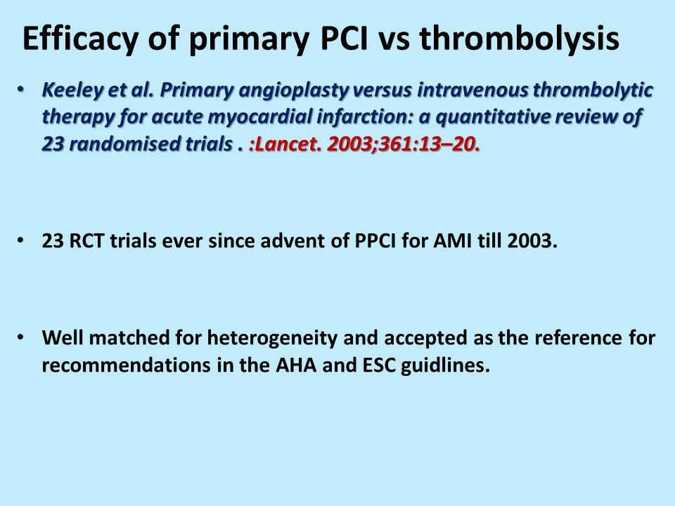 Efficacy of primary PCI vs thrombolysis