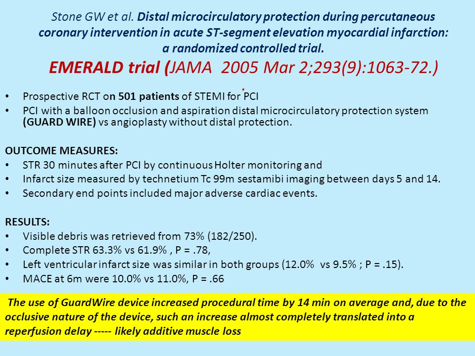Stone GW et al. Distal microcirculatory protection during percutaneous coronary intervention in acute ST-segment elevation myocardial infarction: a randomized controlled trial. EMERALD trial (JAMA 2005 Mar 2;293(9):1063-72.) .