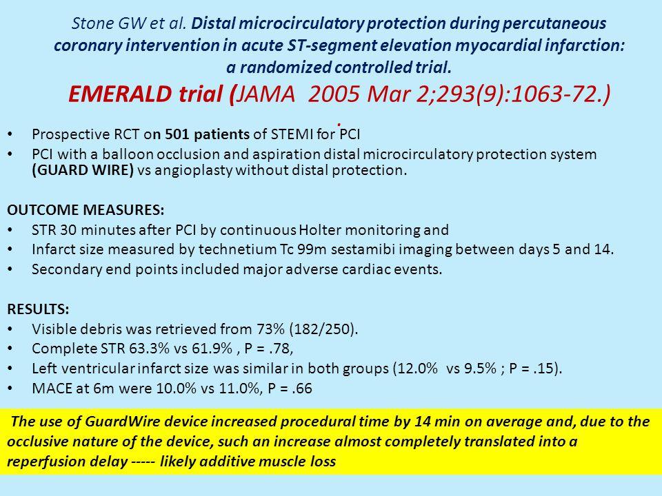 Stone GW et al. Distal microcirculatory protection during percutaneous coronary intervention in acute ST-segment elevation myocardial infarction: a randomized controlled trial. EMERALD trial (JAMA 2005 Mar 2;293(9):1063-72.) .