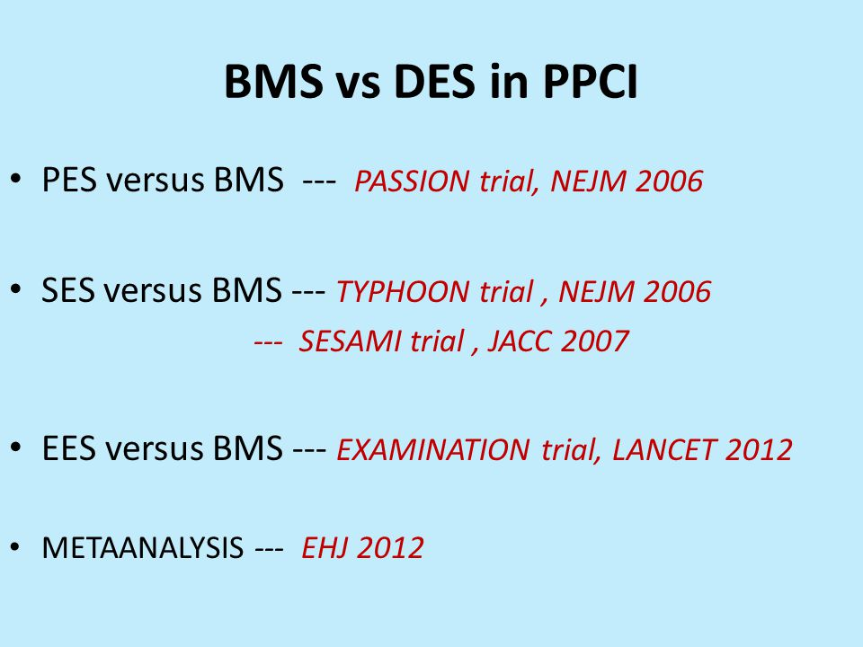 BMS vs DES in PPCI PES versus BMS --- PASSION trial, NEJM 2006