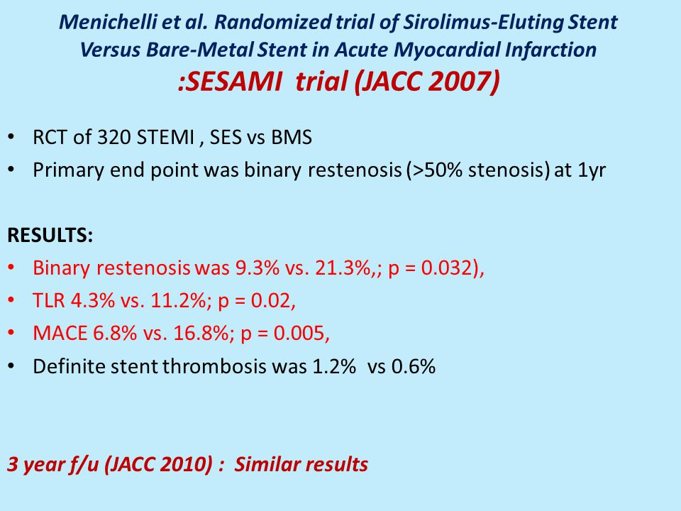 Menichelli et al. Randomized trial of Sirolimus-Eluting Stent Versus Bare-Metal Stent in Acute Myocardial Infarction :SESAMI trial (JACC 2007)