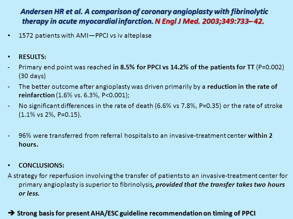 Andersen HR et al. A comparison of coronary angioplasty with fibrinolytic therapy in acute myocardial infarction. N Engl J Med. 2003;349:733– 42.