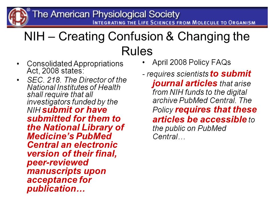 NIH – Creating Confusion & Changing the Rules