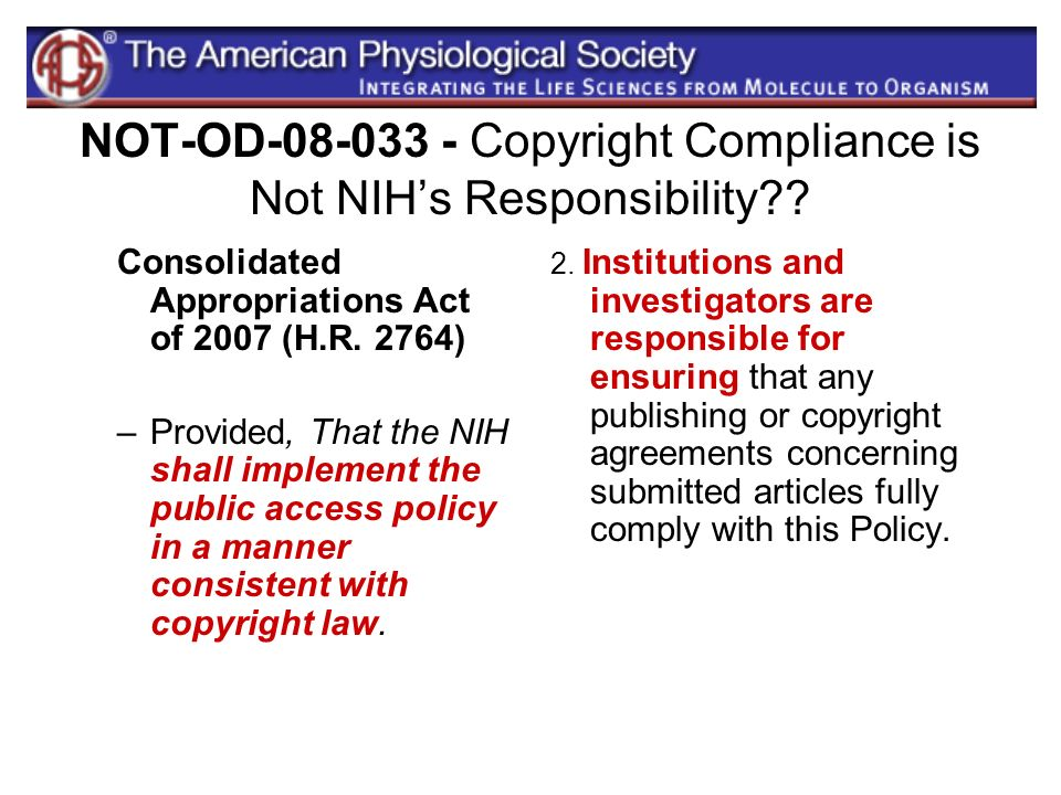 NOT-OD Copyright Compliance is Not NIH's Responsibility