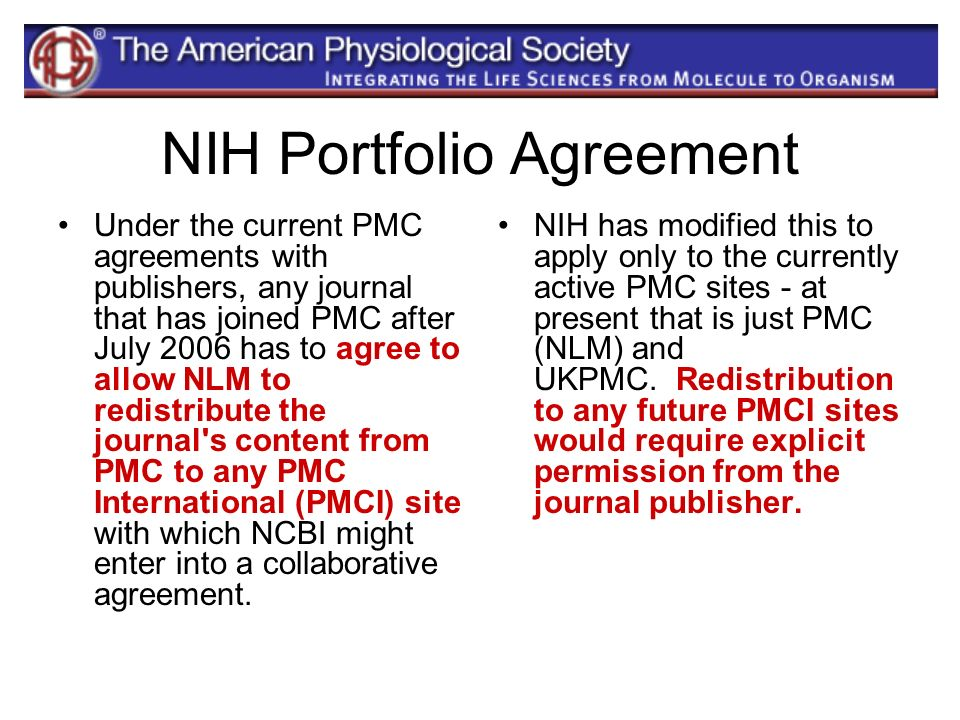 NIH Portfolio Agreement