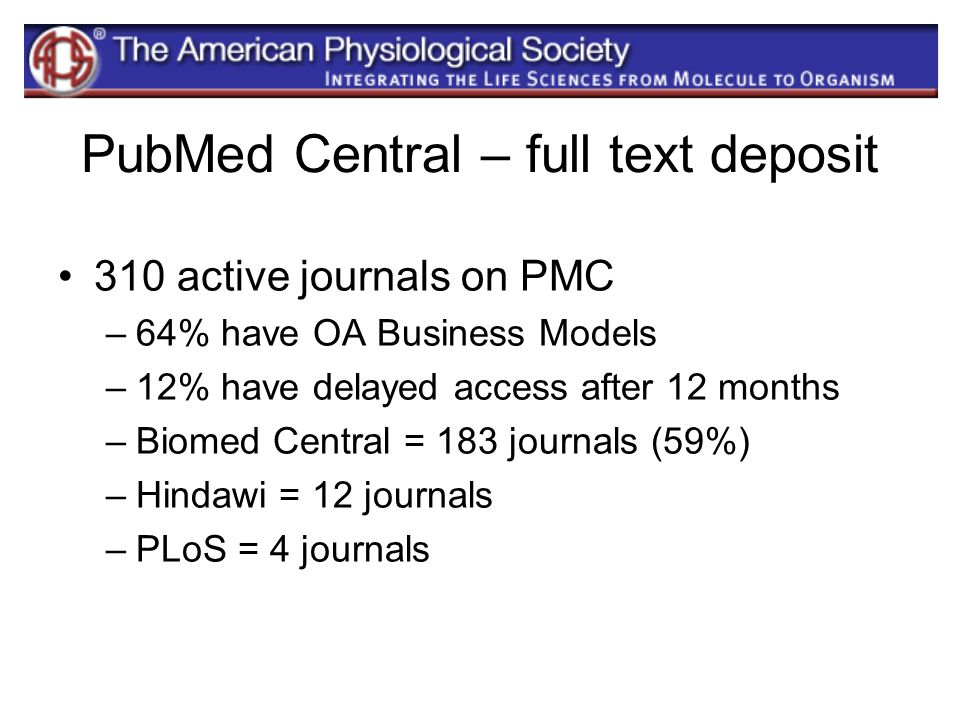 PubMed Central – full text deposit