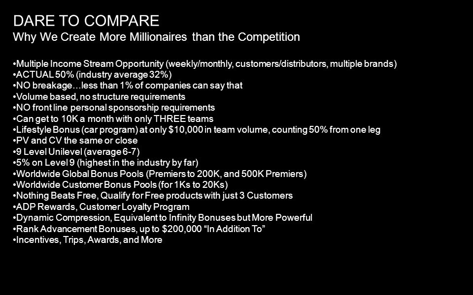 DARE TO COMPARE Why We Create More Millionaires than the Competition