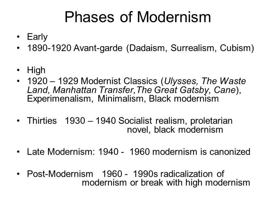Phases of Modernism Early