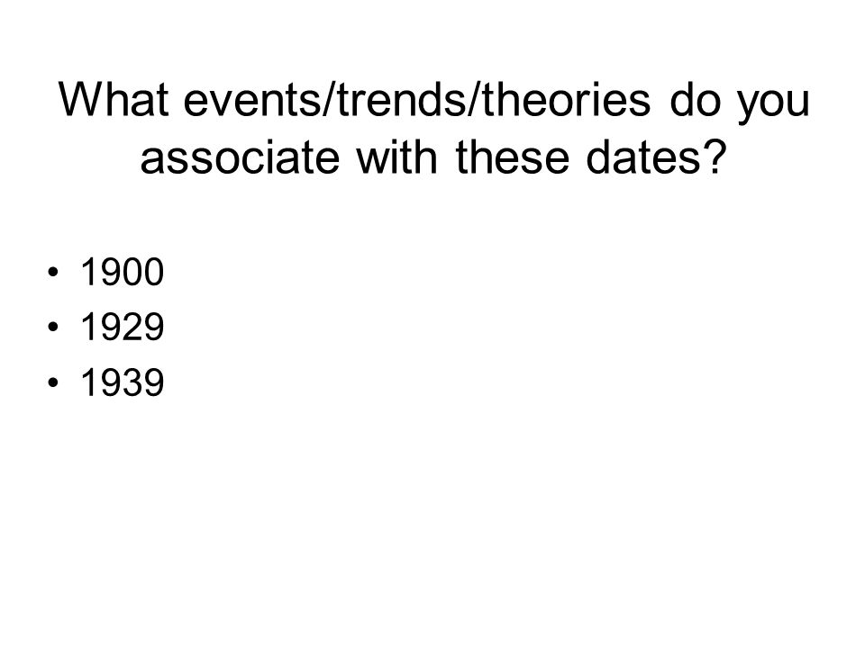 What events/trends/theories do you associate with these dates