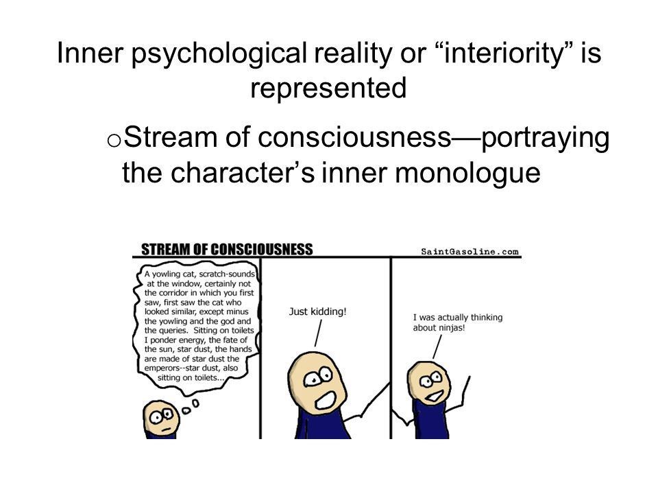 Inner psychological reality or interiority is represented