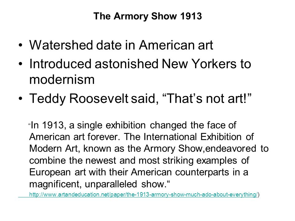 Watershed date in American art