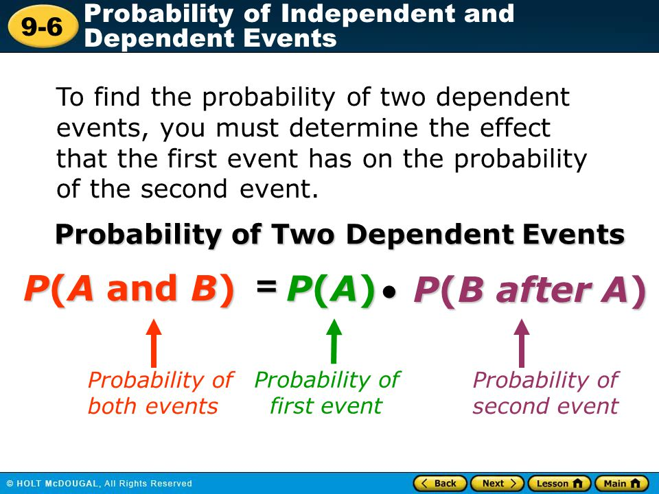 P(A and B) P(A) P(B after A) = Probability of Two Dependent Events