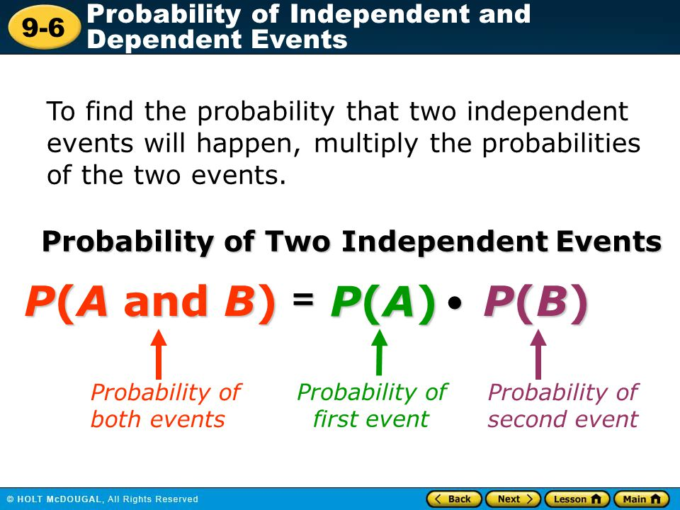 P(A and B) P(A) P(B) = Probability of Two Independent Events