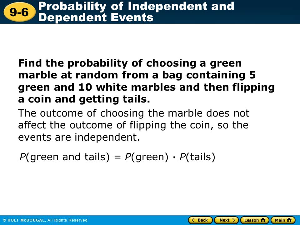 Find the probability of choosing a green marble at random from a bag containing 5 green and 10 white marbles and then flipping a coin and getting tails.
