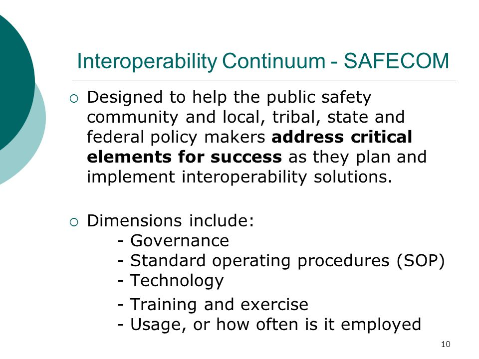 Interoperability Continuum - SAFECOM