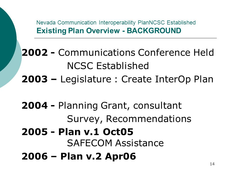 2002 - Communications Conference Held NCSC Established