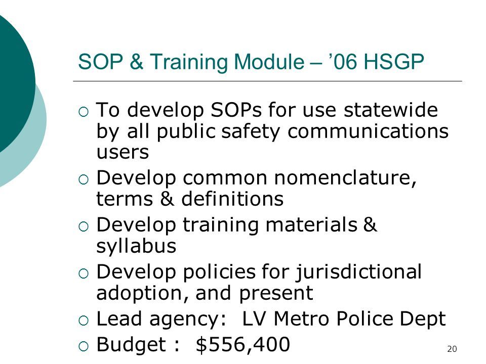 SOP & Training Module – '06 HSGP
