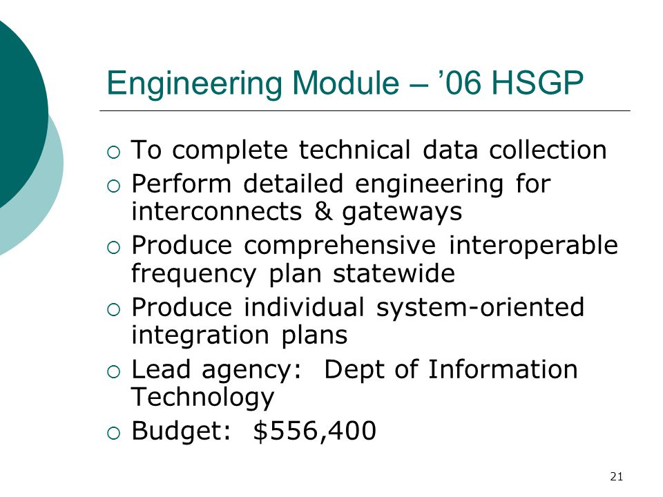 Engineering Module – '06 HSGP