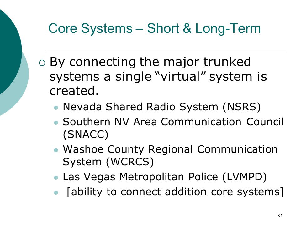 Core Systems – Short & Long-Term