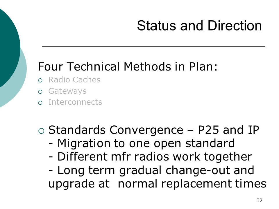 Status and Direction Four Technical Methods in Plan: