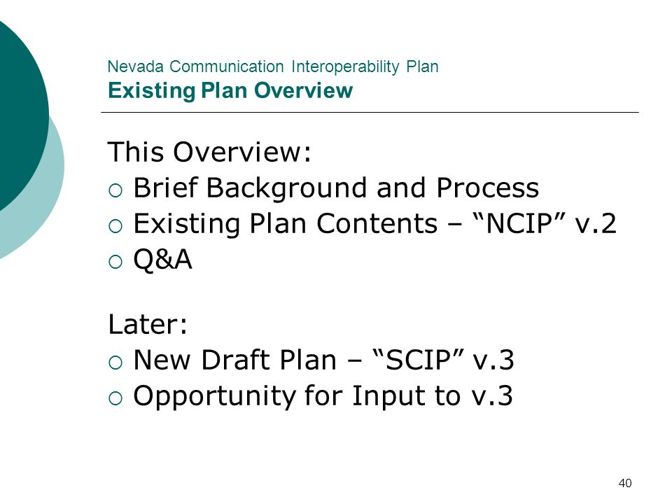Nevada Communication Interoperability Plan Existing Plan Overview
