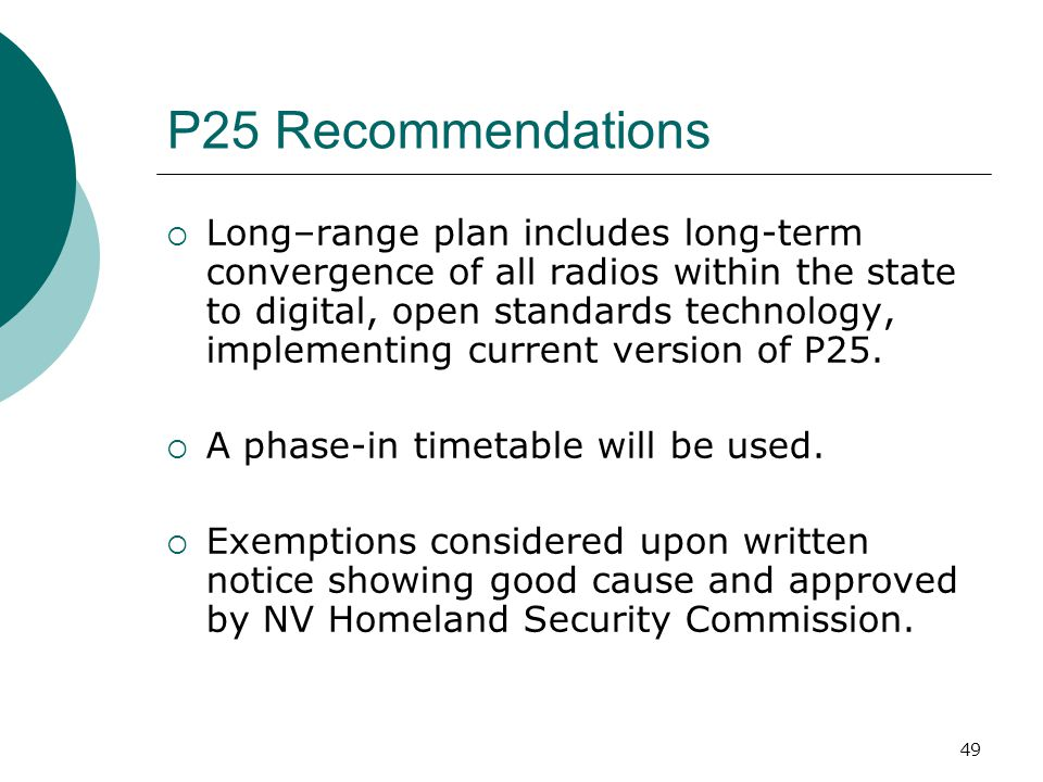 P25 Recommendations