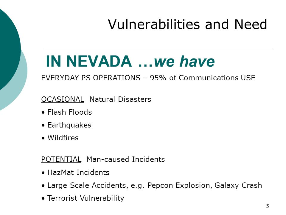 IN NEVADA …we have Vulnerabilities and Need