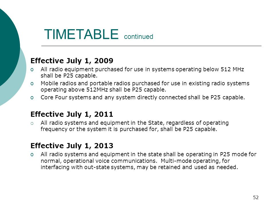 TIMETABLE continued Effective July 1, 2009 Effective July 1, 2011