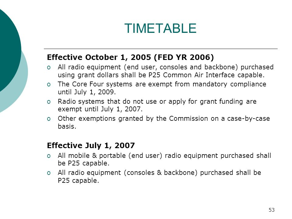 TIMETABLE Effective October 1, 2005 (FED YR 2006)