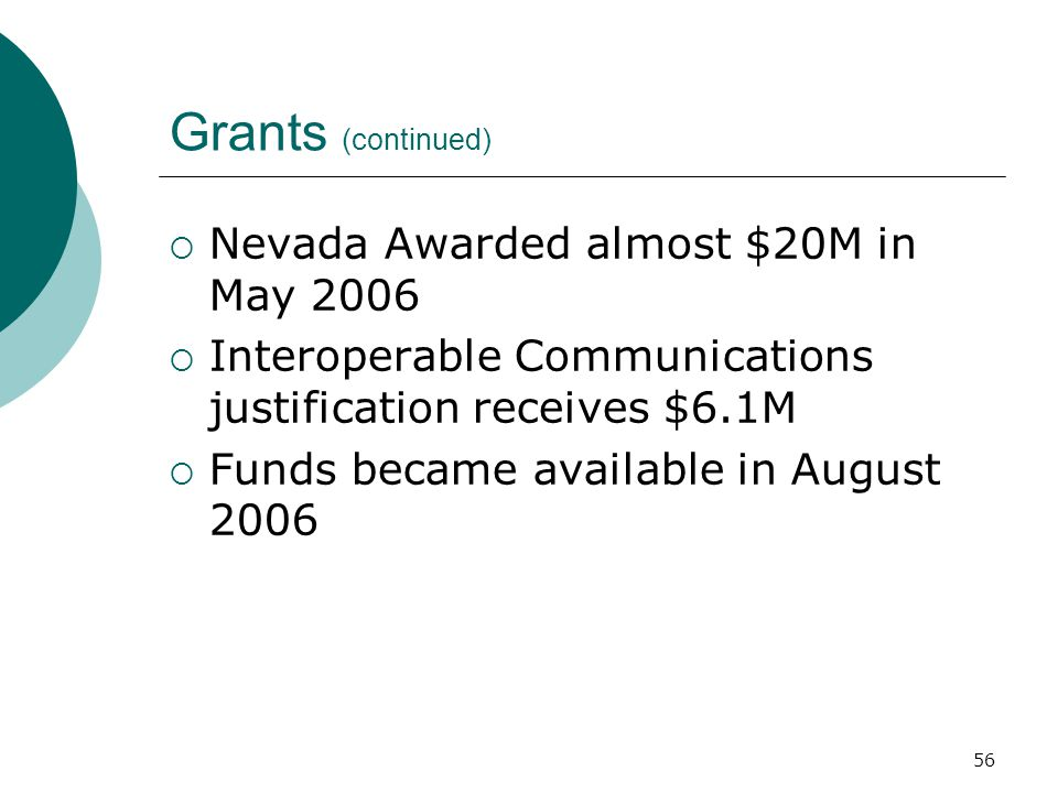 Grants (continued) Nevada Awarded almost $20M in May 2006