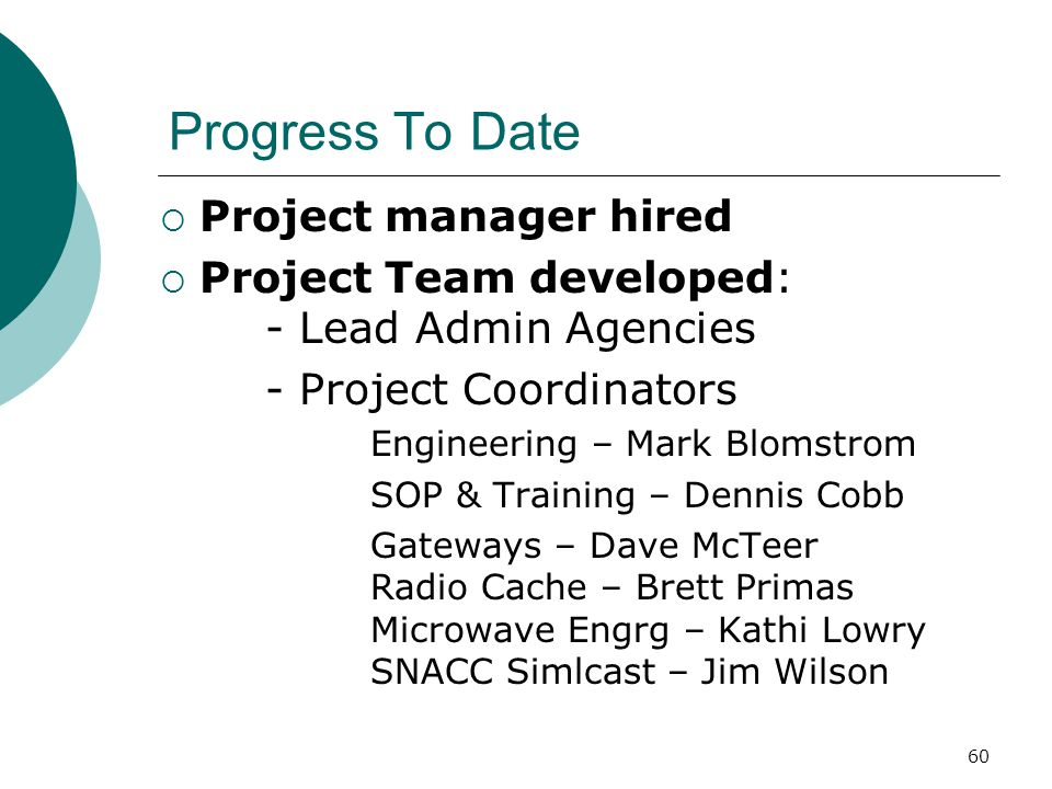 Progress To Date Project manager hired