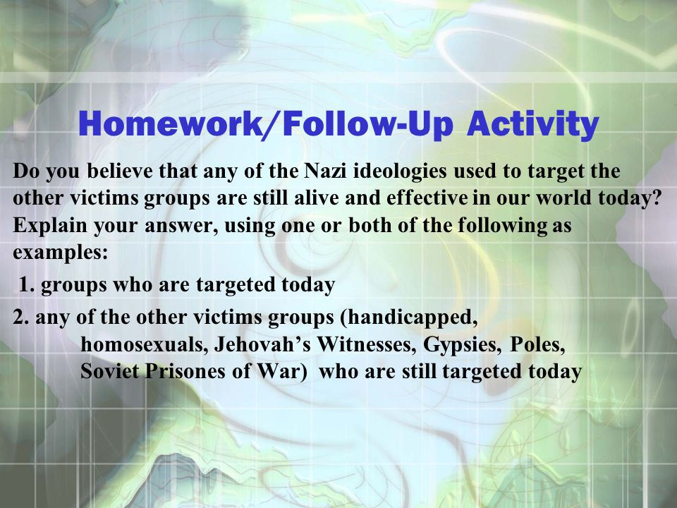 Homework/Follow-Up Activity
