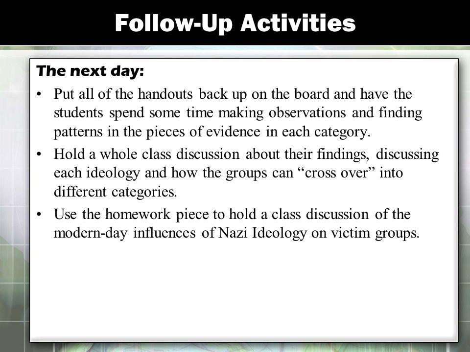 Follow-Up Activities The next day:
