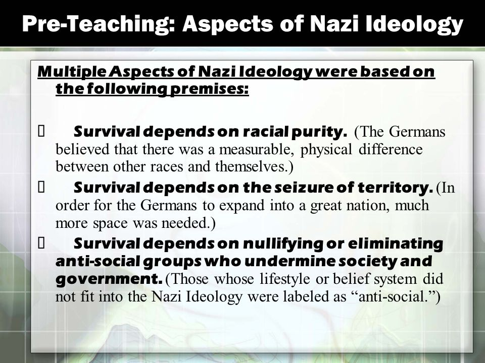 Pre-Teaching: Aspects of Nazi Ideology