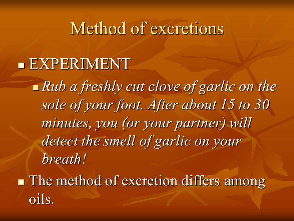 Method of excretions EXPERIMENT