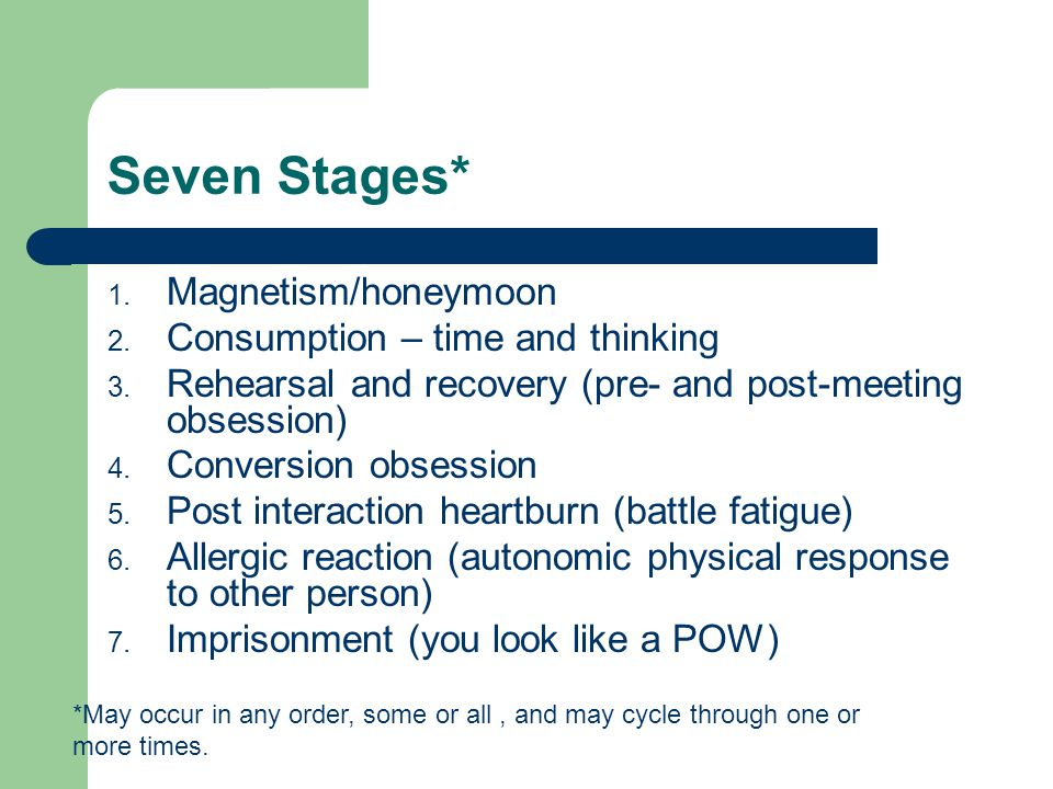 Seven Stages* Magnetism/honeymoon Consumption – time and thinking
