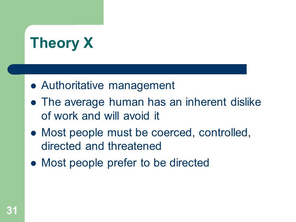 Theory X Authoritative management