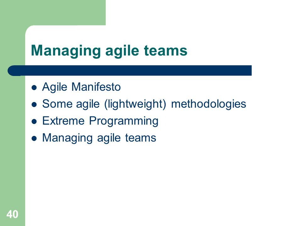 Managing agile teams Agile Manifesto