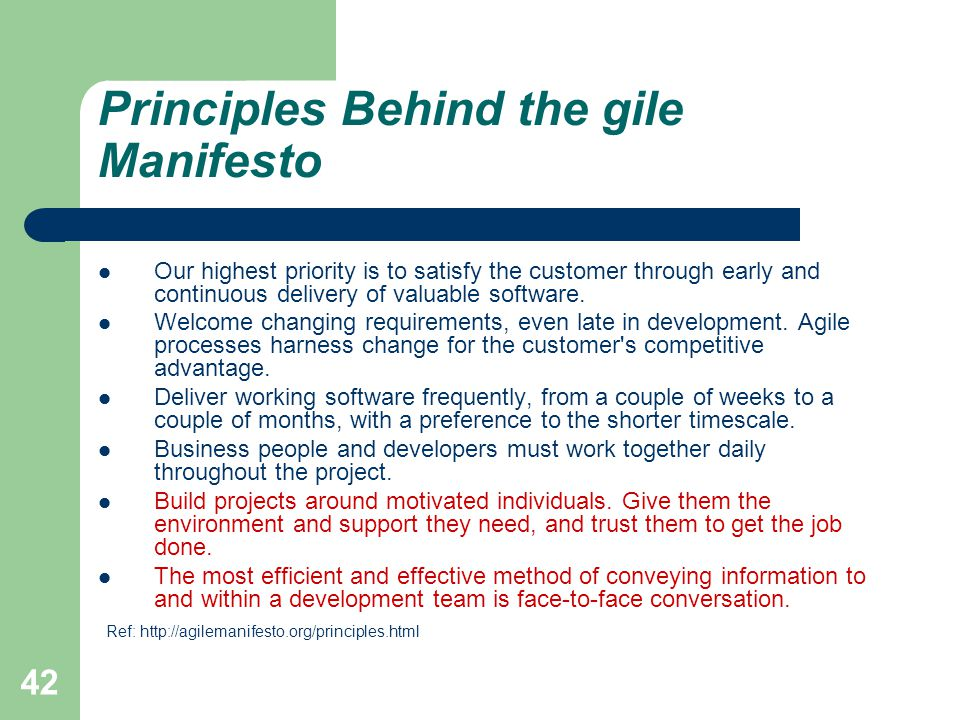 Principles Behind the gile Manifesto