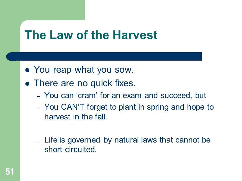 The Law of the Harvest You reap what you sow.