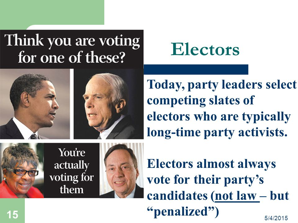 Electors Today, party leaders select competing slates of electors who are typically long-time party activists.
