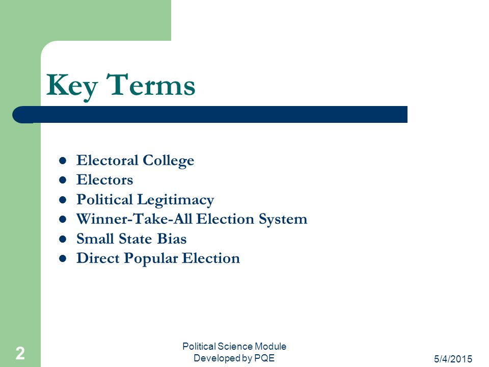 Political Science Module Developed by PQE