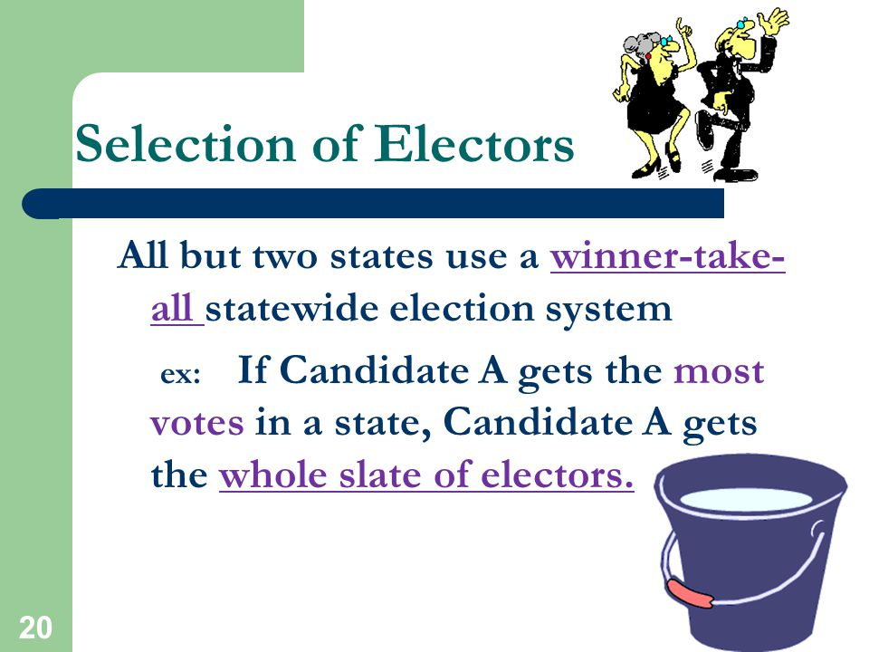 Selection of Electors All but two states use a winner-take-all statewide election system.