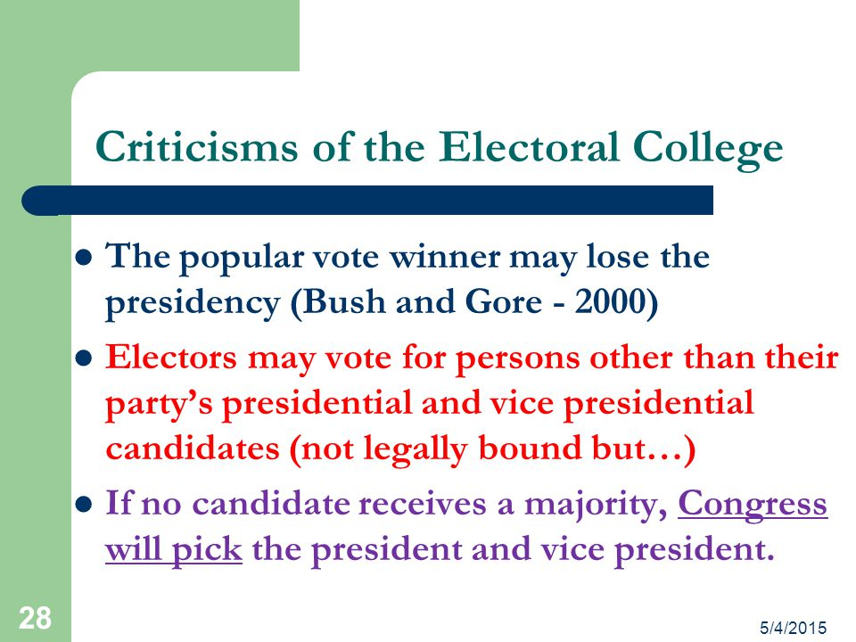 Criticisms of the Electoral College